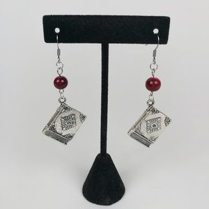 witchy spell book earrings marbled beads wicca